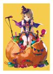 1girl arms_at_sides bangs bare_shoulders bat bat_ornament bat_wings bow bowtie brown_eyes buttons candy capelet commentary drill_hair earrings eyebrows_visible_through_hair food frown giant_food halloween halloween_costume hat hat_bow highres idol idolmaster idolmaster_cinderella_girls jack-o'-lantern jelly_bean jewelry light_brown_hair lollipop long_hair looking_away looking_to_the_side microphone microphone_stand mini_hat morikubo_nono okeno_kamoku on_food orange_bow oversized_object parted_lips puffy_shorts pumpkin pumpkin_shorts red_neckwear ringlets shorts signature simple_background sitting solo stud_earrings sweatdrop wings witch_hat wrapped_candy yellow_background