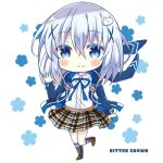 1girl animal_ears animal_hood artist_name bitter_crown black_legwear blue_eyes blue_hair blue_jacket blue_ribbon blush brown_footwear brown_skirt bunny_hood character_hair_ornament chibi clockwork_rabbit closed_mouth collared_shirt commentary_request dress_shirt fake_animal_ears floral_background full_body gochuumon_wa_usagi_desu_ka? hair_ornament hood hood_down hooded_jacket jacket kafuu_chino kneehighs long_hair long_sleeves neck_ribbon open_clothes open_jacket plaid plaid_skirt pleated_skirt rabbit_ears ribbon shirt shoes skirt sleeves_past_wrists smile solo standing standing_on_one_leg tippy_(gochiusa) white_background white_shirt x_hair_ornament