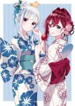 2girls ange_katrina animal animal_on_head bangs bird blue_bow blue_eyes blue_hair blue_kimono blunt_bangs blush bow closed_mouth commentary cowboy_shot duck fan floral_print flower food from_behind hair_bow hair_flower hair_intakes hair_ornament hair_up highres holding holding_food japanese_clothes kimono lize_helesta long_hair long_sleeves looking_at_viewer looking_back misumi_(macaroni) multicolored_hair multiple_girls nijisanji obi on_head open_mouth paper_fan redhead sash sebastian_piyodore short_hair smile striped two-tone_hair uchiwa vertical-striped_kimono vertical_stripes virtual_youtuber white_hair white_kimono wide_sleeves yukata