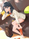 1girl bag bangs black_hair black_skirt blue_eyes blush breasts cardigan couch eyebrows_visible_through_hair from_above highres keroroxzz long_hair long_sleeves looking_at_viewer miniskirt orange_legwear pillow pleated_skirt school_uniform scrunchie scrunchie_removed sitting skirt solo ssss.gridman takarada_rikka yellow_pillow yellow_scrunchie