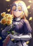 1girl armor armored_dress blonde_hair blue_eyes braid breasts commentary_request eyebrows_visible_through_hair fate/apocrypha fate_(series) flower gauntlets hair_ornament haribote_(tarao) headpiece holding holding_flower jeanne_d'arc_(fate) jeanne_d'arc_(fate)_(all) large_breasts long_braid long_hair looking_at_viewer single_braid smile solo upper_body yellow_flower