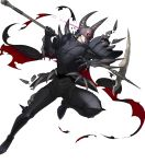 1boy armor armored_boots boots cape death_knight_(fire_emblem) fangs fire_emblem fire_emblem:_three_houses fire_emblem_heroes full_body gloves glowing glowing_eyes helmet highres horns injury male_focus official_art red_eyes scythe solo teeth torn_clothes transparent_background