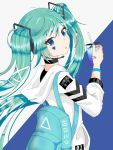 1girl absurdres aqua_eyes aqua_hair aqua_nails backpack bag bandaid_on_hand bangs black_undershirt bracelet choker drinking_straw facial_mark hair_ornament hair_ribbon hatsune_miku headset highres holding_drink hood hoodie jewelry long_hair looking_at_viewer looking_back open_mouth ribbon sugaru triangle_mouth twintails two-tone_background upper_body very_long_hair vocaloid white_hoodie