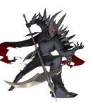 1boy armor armored_boots boots cape death_knight_(fire_emblem) fangs fire_emblem fire_emblem:_three_houses fire_emblem_heroes full_body gloves glowing glowing_eyes helmet highres horns male_focus official_art red_eyes scythe solo torn_clothes transparent_background