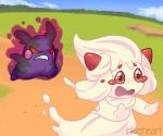 alcremie angry artist_name aura chasing distress gen_8_pokemon hamster hangry inkie-heart morpeko open_mouth pokemon pokemon_(creature) pokemon_swsh red_eyes running scowl strawberry tears teeth whipped_cream