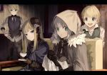 2boys 2girls black_gloves black_headwear blonde_hair blue_dress blue_eyes blue_neckwear blue_scarf blue_vest brown_gloves cleaning cloak closed_mouth commentary_request cup dress eyebrows_visible_through_hair fate_(series) flat_eskardos flower flower_hat fur-trimmed_cloak fur_trim gloves gray_(lord_el-melloi_ii) green_eyes green_vest grey_hair hair_between_eyes hand_on_hip hat holding holding_cup holding_shoes hood hood_up hooded_cloak long_hair looking_at_viewer lord_el-melloi_ii_case_files mini_hat mocha_(mokaapolka) multiple_boys multiple_girls necktie open_mouth reines_el-melloi_archisorte scarf shirt shoes short_hair sitting smile svin_glascheit teacup teeth vest white_flower white_shirt