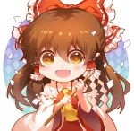 1girl ascot bangs blush bow brown_eyes brown_hair chibi detached_sleeves frilled_bow frilled_hair_tubes frilled_shirt_collar frills gohei hair_between_eyes hair_bow hair_tubes hakurei_reimu happy light_particles long_hair looking_at_viewer open_mouth outline patterned_background red_bow red_shirt red_skirt reflective_eyes ribbon-trimmed_sleeves ribbon_trim rope shangguan_feiying shimenawa shiny shiny_hair shirt skirt smile solo touhou upper_body white_background wide_sleeves yellow_neckwear