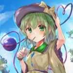 1girl black_headwear blouse blue_sky blush breasts bubble_tea clouds commentary_request cup day disposable_cup drinking_straw eyebrows_visible_through_hair frilled_shirt_collar frilled_sleeves frills green_eyes green_hair hair_between_eyes hand_on_headwear hat hat_ribbon heart heart_of_string highres ikazuchi_akira komeiji_koishi lens_flare light_particles long_sleeves looking_at_viewer outdoors ribbon short_hair sky small_breasts solo third_eye touhou tree upper_body wide_sleeves yellow_blouse