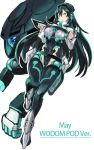 1girl bangs breasts character_name commentary english_text full_body goggles goggles_on_head green_eyes green_hair gundam gundam_build_divers_re:rise highres large_breasts leotard long_hair long_sleeves looking_at_viewer may_(gundam_build_divers_re:rise) mecha mecha_musume sidelocks tim_(a9243190a) very_long_hair wodom_pod