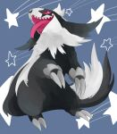 blue_background claws commentary_request full_body galarian_linoone gen_8_pokemon looking_at_viewer no_humans open_mouth pink_eyes pink_sclera pokemon pokemon_(creature) sharp_teeth simple_background smile solo standing star teeth tongue tongue_out waribashi_(warenuhasi)