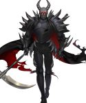 1boy armor armored_boots boots cape death_knight_(fire_emblem) fangs fire_emblem fire_emblem:_three_houses fire_emblem_heroes full_body gloves glowing glowing_eyes helmet highres horns looking_at_viewer male_focus official_art red_eyes scythe solo torn_clothes transparent_background
