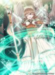 1girl 40hara blonde_hair bracelet braid brown_eyes company_name copyright_name dress elbow_gloves faye_(fire_emblem) fire_emblem fire_emblem_cipher fire_emblem_echoes:_shadows_of_valentia gloves highres holding holding_staff jewelry long_hair magic_circle official_art one_eye_closed open_mouth solo staff statue twin_braids white_gloves