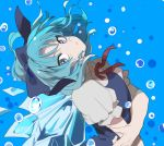 1girl bangs blue_background blue_bow blue_dress blue_eyes blue_hair bow bubble cirno closed_mouth collared_shirt dress eyebrows_visible_through_hair floating_hair frilled_sleeves frills hair_bow hand_on_own_arm head_tilt highres ice ice_wings joniko1110 looking_at_viewer looking_to_the_side neck_ribbon puffy_short_sleeves puffy_sleeves red_neckwear red_ribbon ribbon shirt short_hair short_sleeves solo touhou upper_body white_shirt wings
