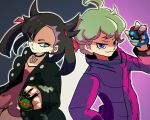 1boy 1girl ahoge beet_(pokemon) black_jacket black_nails choker closed_mouth curly_hair dress dusk_ball great_ball green_eyes green_hair jacket marie_(pokemon) multicolored multicolored_background outline pink_dress poke_ball pokemon pokemon_(game) pokemon_swsh purple_jacket simple_background smile tofu_(tttto_f) twintails violet_eyes white_outline