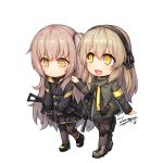2girls :d bangs black_footwear black_gloves black_hairband black_jacket black_ribbon black_skirt blush boots brown_footwear brown_legwear chibi commentary dated eyebrows_visible_through_hair fingerless_gloves girls_frontline gloves green_jacket gun h&k_ump h&k_ump40 h&k_ump45 hair_between_eyes hairband hand_on_another's_shoulder holding holding_gun holding_weapon jacket light_brown_hair long_hair multiple_girls object_namesake one_side_up open_clothes open_jacket open_mouth orange_eyes pantyhose pleated_skirt ribbon signature simple_background skirt smile submachine_gun tama_yu tears ump40_(girls_frontline) ump45_(girls_frontline) very_long_hair walking weapon white_background yellow_eyes
