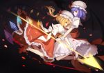 2girls absurdres ascot bangs bat_wings black_background blonde_hair blue_hair bow crystal detached_wings dress flandre_scarlet frills hat hat_ribbon high_heels highres holding holding_spear holding_weapon left-handed long_hair looking_at_viewer mob_cap multiple_girls one_side_up petals polearm profile puffy_short_sleeves puffy_sleeves red_bow red_eyes red_footwear red_ribbon red_sash red_skirt red_vest remilia_scarlet reverse_grip ribbon rlonely_zhuazi rose_petals sash shirt short_hair short_sleeves siblings simple_background sisters skirt skirt_set socks spear spear_the_gungnir touhou vest weapon white_bow white_dress white_footwear white_headwear white_legwear white_shirt wings wrist_cuffs yellow_bow yellow_neckwear