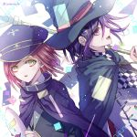 1boy 1girl alternate_headwear artist_name back-to-back black_headwear black_jacket bob_cut cape checkered checkered_scarf commentary_request danganronpa eyebrows_visible_through_hair from_side hair_ornament hairclip hat holding holding_mask holding_staff jacket looking_at_viewer mask mask_removed medium_hair new_danganronpa_v3 open_mouth ouma_kokichi purple_hair redhead scarf school_uniform short_hair staff standing violet_eyes whtie_jacket witch_hat yellow_eyes yumeno_himiko z-epto_(chat-noir86)