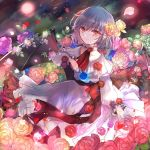 1girl bangs blue_flower blue_hair blue_rose closed_eyes collarbone commentary_request dress eyebrows_visible_through_hair falling_petals flower frilled_dress frills holding holding_flower kazu_(muchuukai) light_smile long_sleeves looking_at_viewer neck_ribbon no_headwear puffy_long_sleeves puffy_sleeves purple_flower purple_rose red_eyes red_flower red_neckwear red_rose remilia_scarlet ribbon rose sash short_hair smile solo standing touhou white_dress yellow_flower yellow_rose
