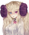 1girl absurdres blonde_hair blue_eyes breasts eyebrows_visible_through_hair heterochromia highres horns long_hair looking_at_viewer open_mouth original sheep_horns simple_background solo sweater torieto twintails violet_eyes white_background