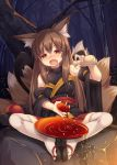 1girl alcohol animal_ears bangs blush brown_eyes brown_hair cover_image detached_sleeves eyebrows_visible_through_hair fang feet_together forest fox_ears fox_tail full-face_blush highres japanese_clothes long_hair looking_at_viewer multiple_tails nature night open_mouth original pleated_skirt pouring roshin sake sandals sitting skirt solo tail thigh-highs tokkuri white_background