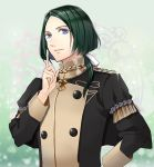 1boy blue_eyes epaulettes fire_emblem fire_emblem:_three_houses flower green_background green_hair linhardt_von_hevring long_hair looking_at_viewer low_ponytail male_focus shimizu_ren solo sparkle uniform