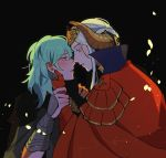 2girls black_background blush byleth_(fire_emblem) byleth_(fire_emblem)_(female) cape edelgard_von_hresvelg eye_contact eyebrows_visible_through_hair eyelashes fire_emblem fire_emblem:_three_houses gauntlets green_hair hand_on_another's_face highres imminent_kiss looking_at_another medium_hair multiple_girls oratoza parted_lips petals red_cape silver_hair tiara upper_body yuri