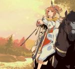 1girl alternate_costume animal aquila_(kantai_collection) arrow bangs bitchcraft123 blush bow_(weapon) breasts closed_mouth evening eyebrows_visible_through_hair hair_ornament hairclip holding holding_bow_(weapon) holding_weapon horse horseback_riding kantai_collection large_breasts long_sleeves mountain orange_hair outdoors ponytail quiver riding river sheath sheathed sky solo sword tree water weapon