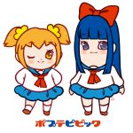 2girls ;) artist_request blonde_hair blue_eyes blue_hair blush commentary dress english_commentary eyebrows_visible_through_hair looking_at_viewer multiple_girls one_eye_closed pipimi poptepipic popuko sailor_dress scrunchie signature smile yellow_eyes