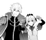 1boy 1girl absurdres blush_stickers brother_and_sister cape fate/grand_order fate_(series) fist_pump fur-trimmed_cape fur_trim gareth_(fate/grand_order) gawain_(fate/extra) greyscale grin hair_flaps highres monochrome petting puffy_sleeves siblings smile tsukamoto_minori white_background