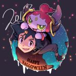 1boy alternate_costume ame_(ame025) ash_ketchum bangs black_gloves black_hair brown_eyes collar commentary_request doughnut fang fingerless_gloves food gen_6_pokemon gloves grey_hoodie halloween happy_halloween hood hoodie hoopa hoopa_(confined) looking_at_viewer male_focus mythical_pokemon open_mouth outline pokemon pokemon_(anime) pokemon_(creature) short_hair smile tongue