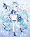 1girl balloon blue_background blue_eyes blue_flower blue_footwear blue_hair blush boots braid closed_mouth commentary_request cymbals drum drumsticks epaulettes flower full_body fur_collar g_ieep hat hatsune_miku highres holding instrument instrument_request jacket long_hair outstretched_arm skirt smile snowflakes solo star thigh-highs trumpet twintails very_long_hair vocaloid white_headwear white_jacket white_legwear white_skirt yuki_miku yuki_miku_(2020) yukine_(vocaloid)