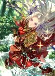 1girl axe black_gloves blonde_hair closed_mouth company_name copyright_name edelgard_von_hresvelg fire_emblem fire_emblem:_fuukasetsugetsu fire_emblem:_three_houses fire_emblem_cipher gloves hair_ribbon holding holding_axe intelligent_systems long_hair nintendo official_art ribbon smile solo splash splashing suzuki_rika violet_eyes water