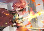 1girl bare_back breasts cape cermia_(epic7) epic7 fire highres long_hair looking_at_viewer red_eyes redhead sword vardan weapon weapon_bag