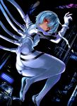 1girl ass ayanami_rei blue_hair bodysuit breasts cable commentary_request dark_background eyebrows_visible_through_hair from_side highres kumakou looking_at_viewer neon_genesis_evangelion plugsuit red_eyes short_hair solo tagme white_bodysuit