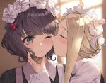 2girls ;t abigail_williams_(fate/grand_order) bangs black_dress black_hair blonde_hair blurry blurry_background blush braid butterfly_hair_ornament cheek_kiss closed_eyes closed_mouth collared_dress commentary_request depth_of_field dress eto_(nistavilo2) eyebrows_visible_through_hair fate/grand_order fate_(series) hair_ornament heroic_spirit_chaldea_park_outfit indoors katsushika_hokusai_(fate/grand_order) kiss long_hair multiple_girls one_eye_closed profile short_hair sidelocks upper_body yuri