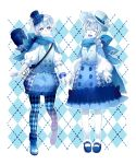 2others ahoge androgynous argyle argyle_background argyle_legwear black_headwear black_legwear blue_eyes blue_footwear blue_scarf closed_eyes drill_hair facial_mark facing_viewer flower hat hat_flower highres long_hair looking_at_viewer mochidukii multiple_others pantyhose personification pokemon puffy_sleeves scarf silver_hair simple_background skirt standing vanilluxe vest white_headwear white_legwear white_skin
