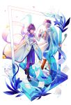 2boys absurdres belt birthday blue_eyes blue_hair blue_scarf boots coat commentary dual_persona english_commentary flower full_body glass hand_up happy_birthday highres holding holding_microphone_stand holding_paper kaito kaito_(vocaloid3) kazenemuri lily_(flower) male_focus microphone microphone_stand multiple_boys number pants paper petals scarf see-through sheet_music short_hair smile vocaloid walking white_coat