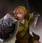 brown_hair green_eyes left-handed link master_sword shield short_hair solo sword the_legend_of_zelda vivecthegod weapon