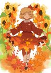 1girl aki_shizuha bangs black_footwear blonde_hair bob_cut bobby_socks brown_shirt brown_skirt buttons closed_mouth collared_shirt curly_hair eyebrows_visible_through_hair floral_background floral_print flower full_body hair_ornament highres joniko1110 leaf leaf_hair_ornament leaf_on_head light_smile loafers long_sleeves looking_at_viewer maple_leaf outstretched_arms petals shirt shoes short_hair skirt skirt_hold skirt_set socks solo sunflower swept_bangs touhou white_background white_legwear wide_sleeves yellow_eyes