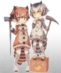 2girls bird_tail bird_wings black_hair blonde_hair blush box brown_eyes brown_hair cane coat commentary_request eurasian_eagle_owl_(kemono_friends) eyebrows_visible_through_hair fur_collar fur_trim gloves grey_hair hair_between_eyes head_wings highres kemono_friends kolshica long_sleeves mary_janes multicolored_hair multiple_girls northern_white-faced_owl_(kemono_friends) owl_ears pantyhose shoes short_hair translated white_footwear white_gloves white_hair white_legwear wings yellow_eyes yellow_footwear yellow_gloves