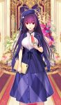 1girl :o beret breasts commentary_request fate/grand_order fate_(series) flower food hair_between_eyes hat heroic_spirit_festival_outfit holding_notebook jacket jacket_on_shoulders koyama_hirokazu large_breasts long_hair looking_at_viewer popsicle purple_hair purple_headwear purple_jacket purple_skirt red_eyes scathach_(fate)_(all) scathach_skadi_(fate/grand_order) shirt skirt solo stethoscope watermelon_bar white_shirt