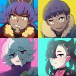 1girl 3boys aqua_eyes beet_(pokemon) black_hair curly_hair dande_(pokemon) dark_skin dark_skinned_male hop_(pokemon) jacket mary_(pokemon) multiple_boys pokemon pokemon_(game) pokemon_swsh purple_hair purple_jacket shioiri smirk twintails twitter_username violet_eyes yellow_eyes