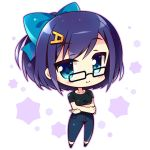 1girl bangs black-framed_eyewear black_footwear black_shirt blue_eyes blue_hair blue_ribbon blush breasts chibi collarbone crossed_arms denim eyebrows_visible_through_hair full_body glasses hair_ornament hairclip hololive hoshikuzu_no_yoru jeans letter_hair_ornament looking_at_viewer medium_hair pants ribbon shirt simple_background smile solo standing tokino_sora_channel virtual_youtuber white_background yuujin_a_(tokino_sora_channel)