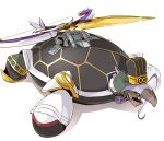 animalization bow_(weapon) catapult_turtle chen_gong_(fate) fate/grand_order fate_(series) glasses hat mecha naik parody purple_hair simple_background solo turtle weapon white_background yuu-gi-ou