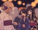 3girls :d ahoge bangs black_hair black_kimono blue_kimono blurry blurry_background braid brown_hair candy_apple commentary_request covered_mouth depth_of_field eyebrows_visible_through_hair floral_print flower food green_eyes hair_flower hair_ornament hair_over_shoulder holding holding_food holding_hand japanese_clothes kimono kuranami_shiki long_hair long_sleeves multiple_girls natsuki_teru nekomiya_ryuu obi open_mouth original print_kimono profile purple_flower purple_rose red_eyes rose sash shikibe_ayaka short_eyebrows sketch smile thick_eyebrows white_kimono wide_sleeves