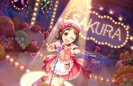 blush brown_hair dress idolmaster_cinderella_girls_starlight_stage muramatsu_sakura red_eyes short_hair smile wink