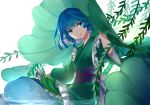 1girl absurdres bangs blue_eyes blue_hair blue_sash chinese_commentary commentary_request drill_hair drill_locks fengji_ya_yinjun green_kimono hand_up head_fins head_tilt highres japanese_clothes kimono long_sleeves looking_at_viewer mermaid monster_girl obi parted_lips petticoat plant sash short_hair simple_background smile solo touhou wakasagihime water white_background wide_sleeves
