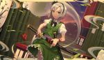 1girl absurdres bamboo black_bow black_hairband black_neckwear black_ribbon bow bowtie clouds commentary cowboy_shot dutch_angle floral_print frills goback green_eyes green_skirt green_vest hair_ribbon hairband highres holding holding_sword holding_weapon katana konpaku_youmu leaf looking_at_viewer miniskirt puffy_short_sleeves puffy_sleeves red_ribbon ribbon scabbard sheath shirt short_hair short_sleeves sidelocks silver_hair skirt skirt_set solo standing sunset sword touhou unsheathing v-shaped_eyebrows vest weapon white_shirt wing_collar wrist_ribbon