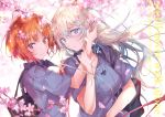 2girls arm_grab backlighting bag bangs blue_eyes blurry blurry_background blurry_foreground blush branch brown_eyes brown_hair carrying cherry_blossoms closed_mouth commentary_request copyright_name cover cover_page dappled_sunlight day depth_of_field doujin_cover dress_shirt dutch_angle english_text eyebrows_visible_through_hair girls_und_panzer grey_shirt hand_in_another's_hair hand_on_another's_shoulder iron_cross itsumi_erika jewelry kuromorimine_school_uniform light_frown light_particles medium_hair multiple_girls necklace neclord nishizumi_miho outdoors parted_lips petals pulp_piroshi school_bag school_uniform shirt short_hair short_sleeves silver_hair smile summer_uniform sunlight wind yuri