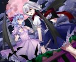 2girls :d absurdres apron bangs bat blue_dress blue_hair braid breasts brooch bush chinese_commentary clouds commentary_request cup dress dutch_angle eyebrows_visible_through_hair feet_out_of_frame fence fengji_ya_yinjun frilled_ribbon frilled_shirt_collar frills from_behind full_moon hair_between_eyes hands_on_own_chest hat hat_ribbon highres holding holding_cup holding_knife holding_weapon izayoi_sakuya jewelry knife left-handed looking_at_viewer looking_back maid_apron mob_cap moon multiple_girls night night_sky open_mouth petticoat pink_dress pink_headwear pointy_ears puffy_short_sleeves puffy_sleeves red_eyes red_moon red_ribbon red_scarf remilia_scarlet reverse_trap ribbon scarf shirt short_dress short_hair short_sleeves silver_hair sky small_breasts smile standing teacup touhou twin_braids vampire weapon white_apron white_shirt wrist_cuffs